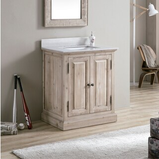 Infurniture 31-inch White Quartz Marble Top Single-Sink Bathroom Vanity