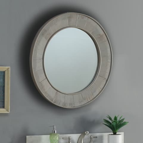 Infurniture Light Grey Wood and Glass 27.5-inch Round Wall Mirror - Brown - A/N