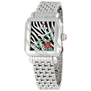 Michele Women's MWW06T000014 'Deco Safari Zebra Rose' Diamond Stainless Steel Watch