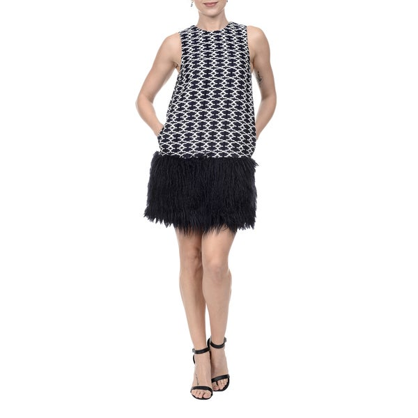 46279a9d5f Romeo and Juliet Couture Blue Polyester/ Rayon V-neck Feathered Skirt  Jacquard Shift Dress