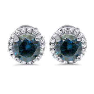 Noori 18k White Gold 1 1/5 ct Blue Diamond Halo Stud Earrings