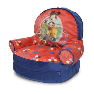 Mickey Mouse Kid's Blue/Red Polyester Slumber Sofa Bean Bag Arm Chair with Bonus Sleeping Bag