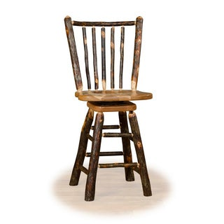 30 Inch Stick Back Swivel Bar Stool - Hickory & Oak or All Hickory