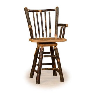 Rustic 24 Inch Stick Back Swivel Bar Stool with Arms- Hickory & Oak or All Hickory