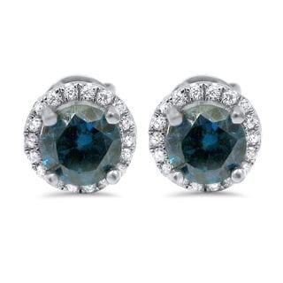 Noori 18k White Gold 1 3/5ct TDW Blue Round Diamond Halo Stud Earrings (G-H, SI1-SI2)