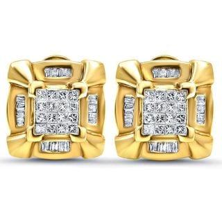 Noori 14k Gold 1 2/5ct TDW Princess-cut Diamond Stud Earrings (H-I, I2-I3)