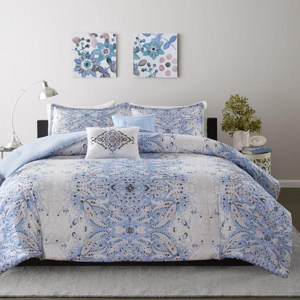 Intelligent Design Raina Blue Printed 4-piece Comforter Set