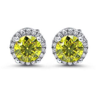 Noori 18k White Gold 1 3/5ct TDW Canary Yellow Diamond Halo Stud Earrings (G-H, SI1-SI2)