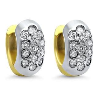 Noori 14k Gold 2/5ct TDW Diamond Hoop Petite Leverback Earrings (I-J, I1-I2)