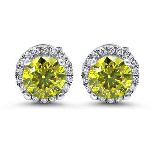 Noori 18k White Gold 1 1/5ct TDW Canary Yellow Diamond Halo Stud Earrings