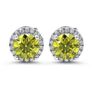 Noori 18k White Gold 1 1/5ct TDW Canary Yellow Diamond Halo Stud Earrings (G-H, SI1-SI2)