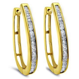 Noori 14k Gold 10k Yellow Gold 3/4ct TDW Baguette Diamond Hoop Earrings (K-L, I2-I3)
