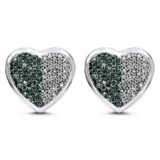 Noori 14k Gold 1 1/2ct TDW Blue Diamond Heart Stud Earrings (J-K, I2-I3)
