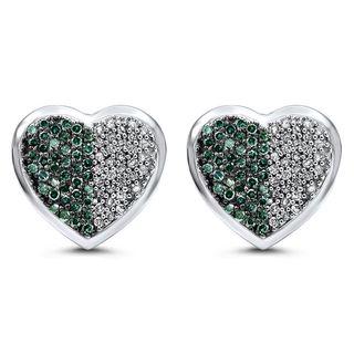 Noori 14k Gold 1 1/2ct TDW Blue Diamond Heart Stud Earrings