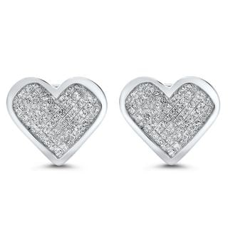 Noori 14k White Gold 3ct TDW Princess-cut Diamond Heart Earrings (H-I, SI1-SI2)