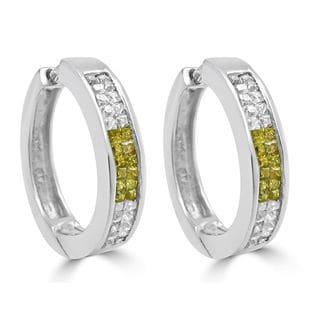Noori 14k Gold 1/2ct Canary Princess Cut Diamond Hoop Earrings