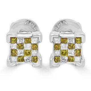 Noori 14k Gold 1/2ct TDW Princess-cut Canary Yellow Diamond Earrings (I-J, I2-I3)