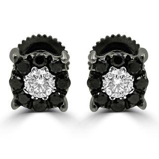 Noori 14k Black Gold 3/5ct TDW Round Black Diamond Earrings