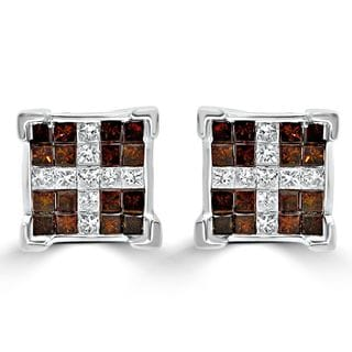 Noori 14k White Gold 1 1/5ct TDW Princess-cut Red Diamond Earrings (G-H, I1-I2)