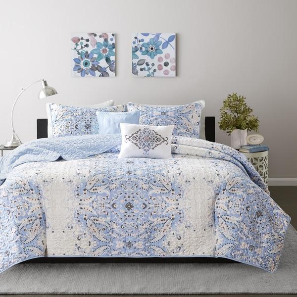 Intelligent Design Raina Blue Printed 5-piece Coverlet Set