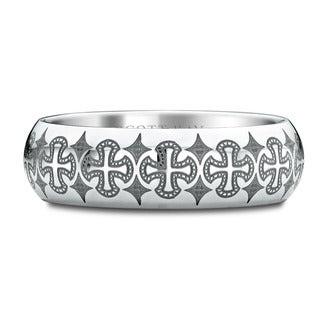 Scott Kay Cobalt Devotion Domed Band with Engraved Crosses