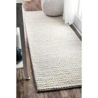 nuLOOM Handmade Casual Braided Wool Off White Runner Rug (2'6 x 8') (As Is Item)