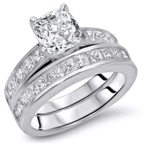 14k Gold 2 7/8ct TDW Cushion-cut Diamond Enhanced Engagement Ring Set