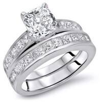 Noori 14k Gold 2 7/8ct TDW Cushion-cut Diamond Enhanced Engagement Ring Set