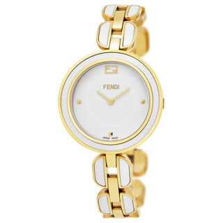 Fendi Women's F359434004 'My Way' White Dial Yellow Goldtone Steel/White Ceramic Fur Adorned Large Swiss Quartz Watch