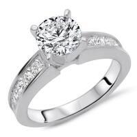 Certified Noori 14k White Gold 1 1/2ct TDW Round Diamond Enhanced Engagement Ring