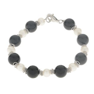 Pearls For You Sterling Silver White Freshwater Pearl and Black Onyx Bracelet