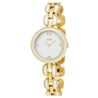 Fendi Women's F359424004 'My Way' White Dial Yellow Goldtone Steel/White Ceramic Fur Adorned Small Swiss Quartz Watch
