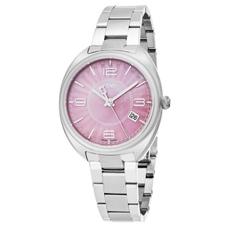 Fendi Women's F218037500 'Momento' Pink Mother of Pearl Dial Stainless Steel Swiss Quartz Watch