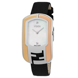 Fendi Women's F303734511D1 'Chameleon' Mother of Pearl Diamond Dial Black Leather Strap Swiss Automatic Watch