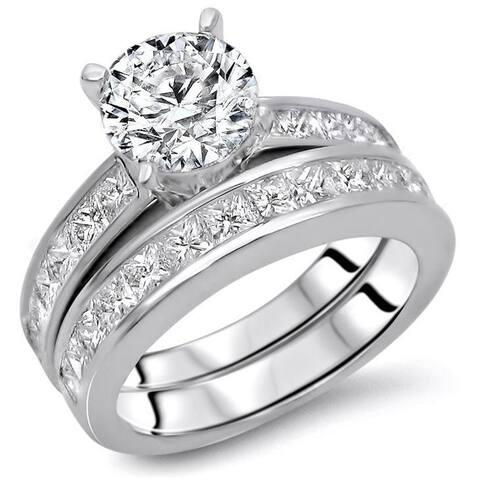 14k Gold 2 7/8ct TDW Round Diamond Enhanced Engagement Ring Set - White