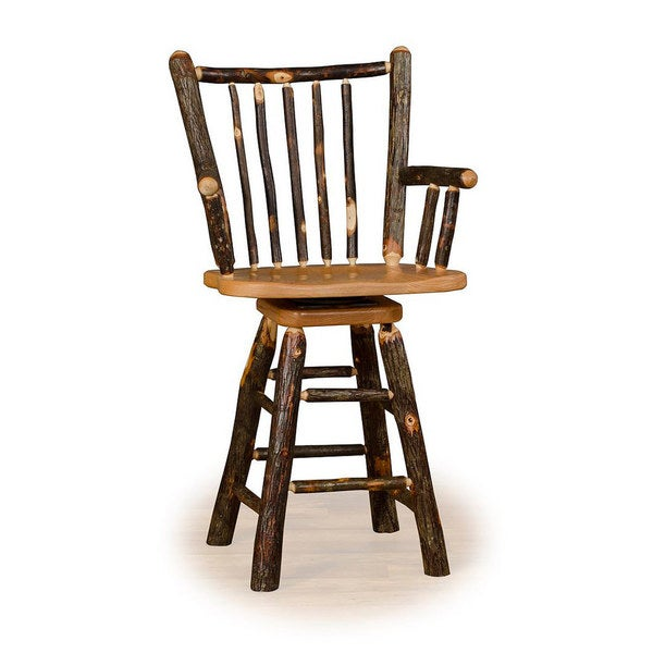 Shop Rustic 30 Inch Stick Back Swivel Bar Stool With Arms