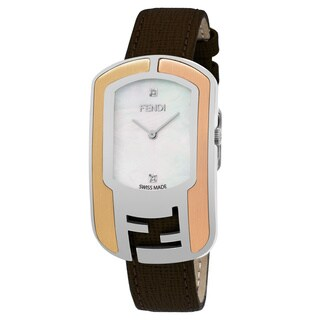 Fendi Women's F303734521D1 'Chameleon' Mother of Pearl Diamond Dial Brown Leather Strap Swiss Quartz Watch