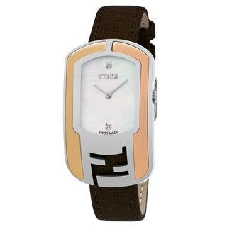 Fendi Women's 'Chameleon' Mother of Pearl Diamond Dial Brown Leather Strap Swiss Quartz Watch