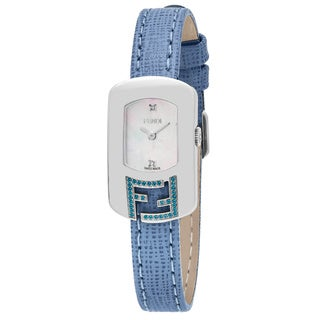 Fendi Women's F305024531E1 'Chameleon Topez' Mother of Pearl Diamond Dial Blue Leather Strap Swiss Quartz Small Watch