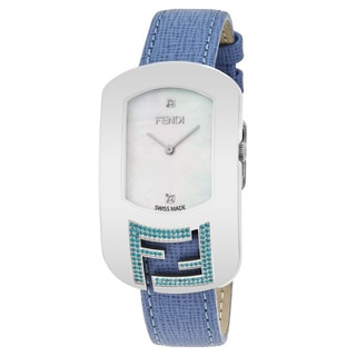 Fendi Women's F305034531E1 'Chameleon Topez' Mother of Pearl Diamond Dial Light Blue Leather Strap Swiss Quartz Large Watch