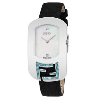 Fendi Women's F305034511E1 'Chameleon Topez' Mother of Pearl Diamond Dial Black Leather Strap Swiss Quartz Watch