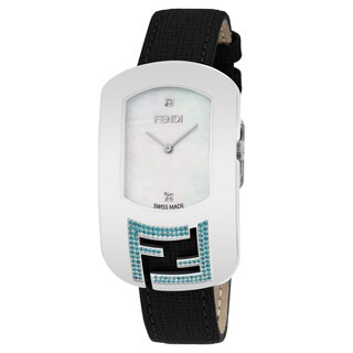 Fendi Women's 'Chameleon Topez' Mother of Pearl Diamond Dial Black Leather Strap Swiss Quartz Watch