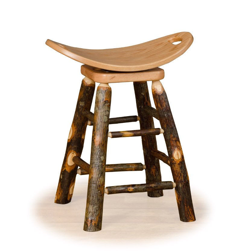 Rustic 24 Inch Counter Swivel Saddle Stool - Hickory & Oa...