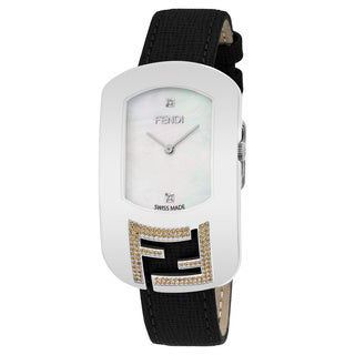 Fendi Women's 'Chameleon Topez' Mother of Pearl Diamond Dial Black Leather Strap Swiss Quartz Watch'