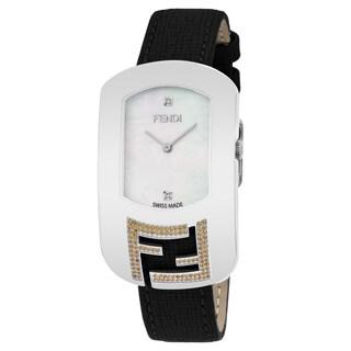 Fendi Women's F306034511E1 'Chameleon Topez' Mother of Pearl Diamond Dial Black Leather Strap Swiss Quartz Watch'