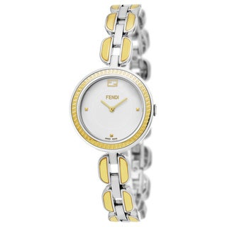 Fendi Women's F351124000 'My Way' White Dial Stainless Steel Two Tone Fur Adorned Small Swiss Quartz Watch