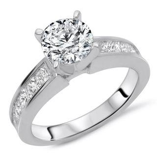 Certified Noori 14k White Gold 1 7/8ct TDW Round Diamond Enhanced Engagement Ring