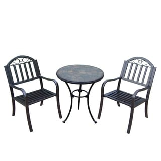 Hometown 3 Pc Stone Bistro Set with 2 Chairs and Table