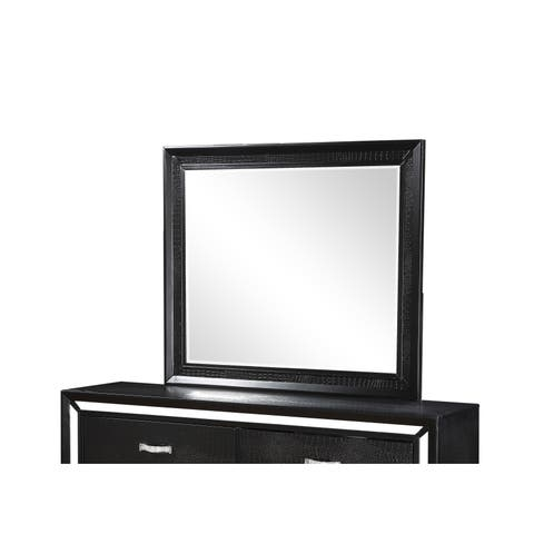 Acme Furniture Elberte Black Wood and Glass Beveled Mirror