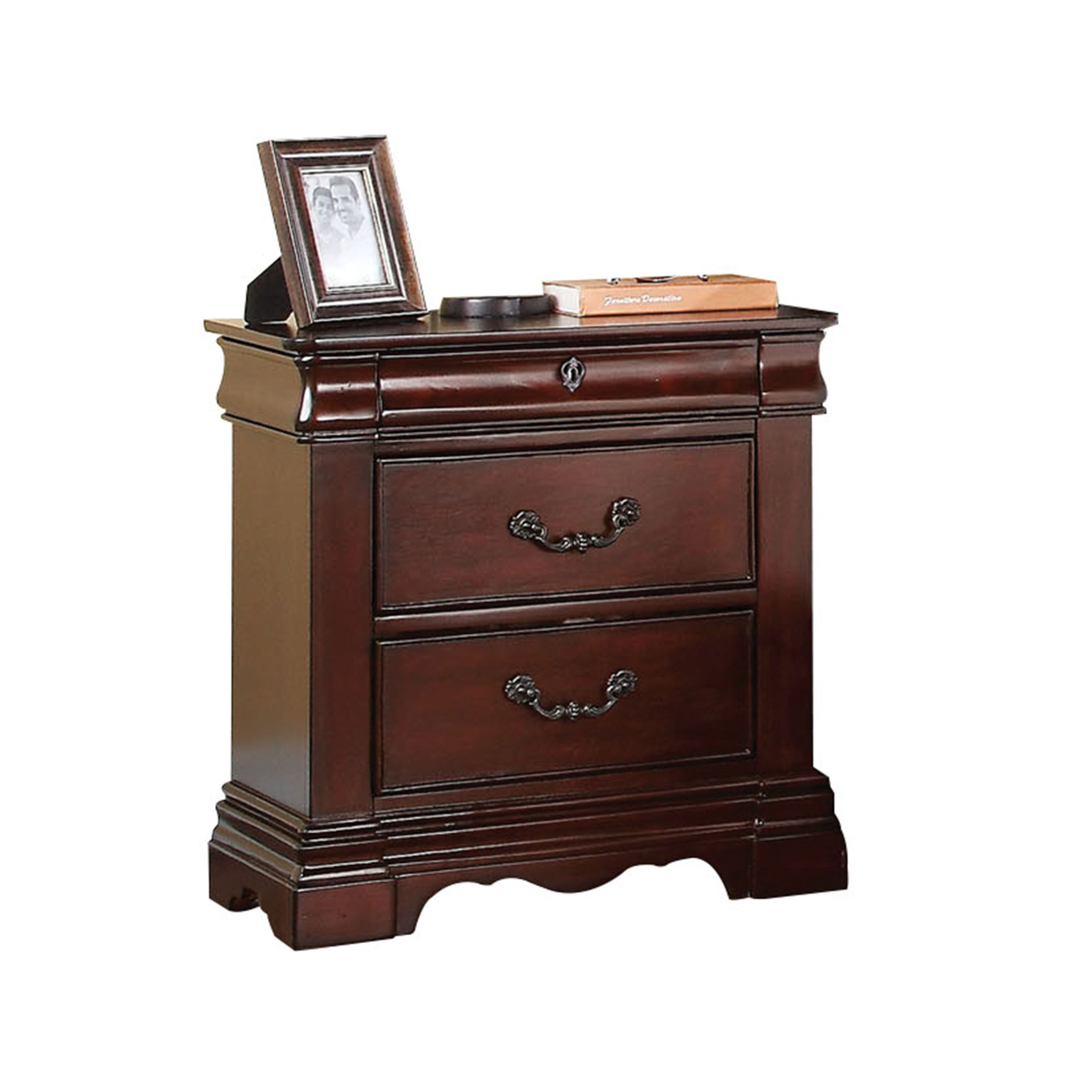 Acme Furniture Estrella Dark Cherry 2 Drawer Hidden Tray Nightstand